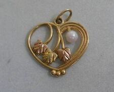 10K Multi Tone Gold Black Hills Gold Style Heart W/ Pearl  Charm / Pendant