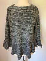Style&co Women Top Knitwear  Plus Size 1X Cotton Blend Grey Long Sleeves NWT $56