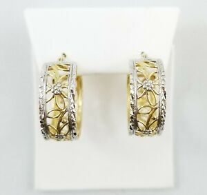 14k Yellow And White Gold Hoop Earrings - Gently Used - J-385A
