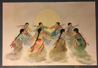 Hoe Won Watercolor Painting / Listed Artist / Female Folk Dancers