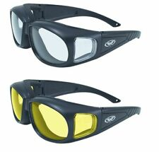 97704a7acb 2 Z87 Fit Over Cover Glasses Motorcycle Cycling Police Golf Clear Yellow  Padded