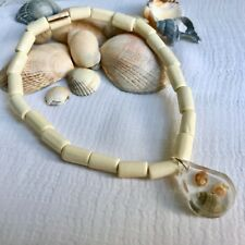 New Sea Shell Charm Anklet ~ Stretch ~ Beach Surfer Nautical Ankle Chain, Cream