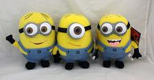 "Set of 3 Despicable Me 2 Plush 3D - Minion 8""  Dave, Stewart, Jorge -  Licensed"