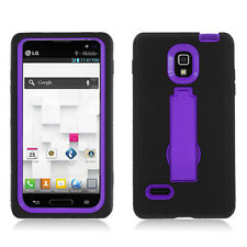 For LG Optimus L9 Impact Hard Rubber Case Phone Cover Kick Stand Black Purple