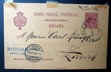 SPAIN POSTAL STATIONERY BARCELONA 1899 TO ZURICH