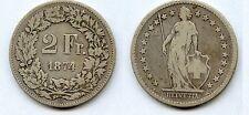 Gertbrolen Suisse  2 Francs Argent 1874     Confédération Helvetica Swiss