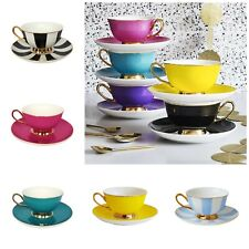 Gold Rim Fine China Tea Cup and Saucer - Yellow Blue Black and White Bombay Duck
