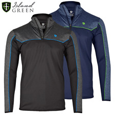 ISLAND GREEN MENS IG TECH PERFORMANCE 1/4 ZIP THERMAL FLEECE LINED GOLF JUMPER