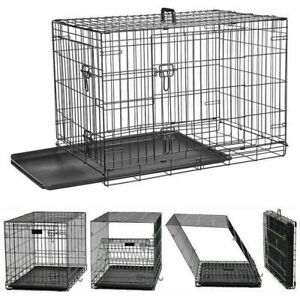 Folding Dog Cage Metal Puppy Pet Crate Carrier Home Training Kennel S M L XL XXL