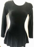 GK ICE FIGURE SKATE LgSLV ADULT SMALL BLACK VELVET MID BACK OPEN DRESS Sz AS NWT
