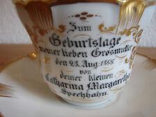 """Geburtstagstasse für die Großmutter, 1855, """"Trink lange daraus"""", Spätbiedermeier"""