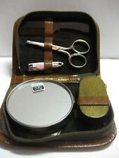 Vintage Noymer Manicure Set For Home or Travel in Zipper Case w/Mirror