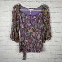 DVF Diane Von Furstenberg Womens Purple Size 4 Sheer Lined 100% Silk Top Blouse