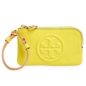 NWT TORY BURCH Perry Bombe Color Block Card Case Wristlet Calendula Lemon 80715