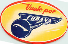 Vuele Por CUBANA ~CUBANA AIRLINE - CUBA~ Scarce Old Luggage Label / Decal, 1960