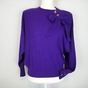 SONIA RYKIEL PARIS vtg WOOL BLEND SWEATER SIZE 40 /m  purple bow