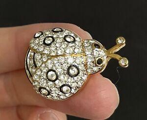 """SWAROVSKI Gold Tone Rhinestone Lady Bug Brooch MARKED 1 1/2"""" M05"""