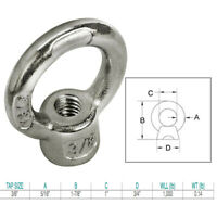 Marine Grade US Stainless 4 Pieces Stainless Steel 316 1//4 UNC Eye Bolt 1//4 x 2 3//8 6mm x 60mm