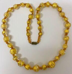 Art Deco Golden Foil Glass Venetian Beads