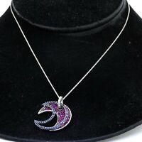 Heavy 18K white gold 3.21CT diamond & sapphire moon pendant necklace