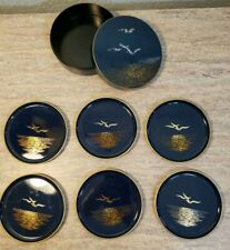 Vintage Otagiri Japan Seagull Lacquerware Coasters Complete Set of 6 With Case