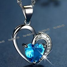 Blue Crystal Diamond Heart Silver Necklace Gifts for Girlfriend Women Mum GF FR3