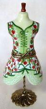 LIMOGES MANQUE GREEN DRESS W/ RED FLOWERS HAND PAINTED FRANCE BNIB PORCELAIN
