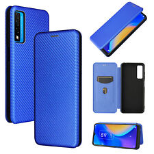 For TCL 20S/ TCL 20 5G Carbon Fiber Stand Leather Wallet Phone Case Cover