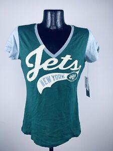 Women's NFL Football New York Jets Green V-Neck Short Sleeve Shirt NWT Medium