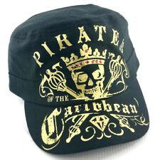 DISNEY PARKS Black Gold Red Rhinestones PIRATES CARIBBEAN Cadet Bib Cap Hat