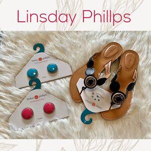 Lindsay Phillips Lorena Black Sandals Interchange Charms Brand New Size 8