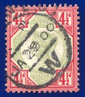 1892 SG206 4½d Green & Carmine K34(1) Fine Used London P.M. CDS CV £45 afst