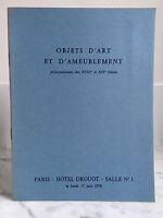 Catalogue Di Vendita Articolo Arte E Tappezzeria Sala N°1 15 Giugno 1970