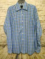 TAILORBYRD Button Down Blue Plaid Long Sleeve Dress Shirt Men's Sz XL Flip Cuff