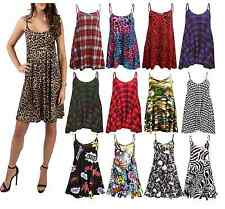 Womens Cami Sleeveless Swing Dress Ladies Strappy Flared Printed Vest Top 8-28