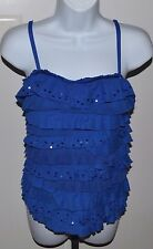 Justice Royal Blue Ruffle w/Sequins Tank Top Girls Sz 18