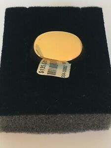 Sterling Silver YG Plated Engravable Ring Size P RRP $135