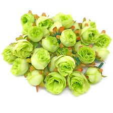 Green Rose Bud Decorative Synthetic Flowers (Faux Silk) - UK SELLER