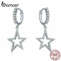 BAMOER Women Stud Earrings S925 Sterling Silver AAA Zircon Bright Star Jewelry