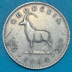 1964 Rhodesia 2-1/2 Shillings = 25 Cents Sable Antelope Coin