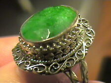 INDIAN natural EMERALD RING 7 SILVER OVAL STERLING 925 BOLD ELEGANT UNISEX OLD
