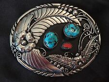 & Coral Feather Belt Buckle-Gorgeous! Vtg Sterling Silver Navajo Turquoise