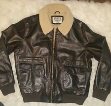 Men's LEVIS Sherpa Lined Faux Leather Bomber Jacket Dark Brown XL
