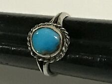 Native American Indian Jewelry Sterling Silver Turquoise Ring, Size 71/2