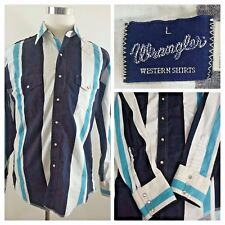 Wrangler Men's Cowboy Western Pearl Snap Multi-color Stripe Shirt Size L