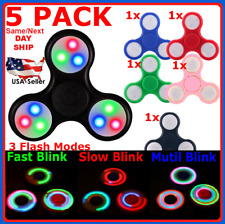 LOT OF 5 PACK Tri Fidget Hand Finger Spinner LED Flash Light Up EDC 3 Buttons