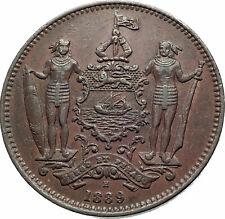 1889H BRITISH NORTH BORNEO UK Canoe Antique OLD Bronze Genuine Cent Coin i82231