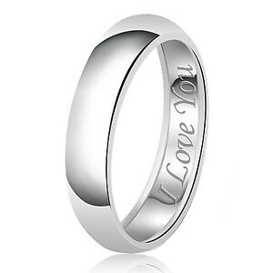 Sterling Silver 925 Solid Couples I Love You Wedding Band Promise Ring
