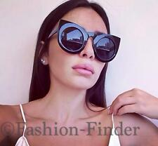 Large Bold Thick Glossy Black Frame Big Wings Round Cat Eye Wolves Sunglasses