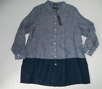 TAHARI Button Front L/S TUNIC Blue Linen BLOUSE Top Shirt Plus Womens Sz 1X NEW